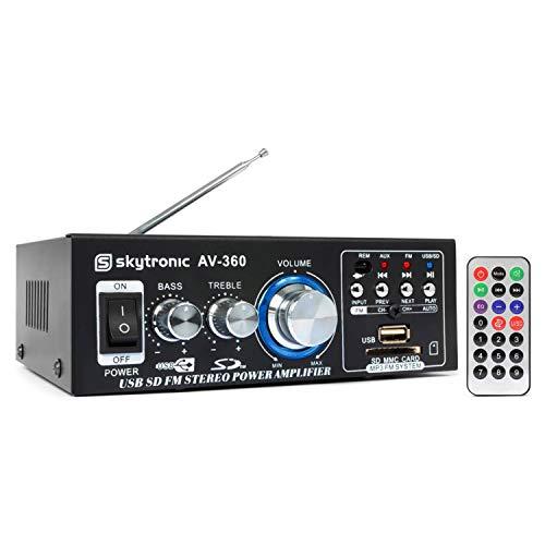 Skytronic HiFi stereo audio versterker 2x 40W - USB/SD/FM + afstandsbediening