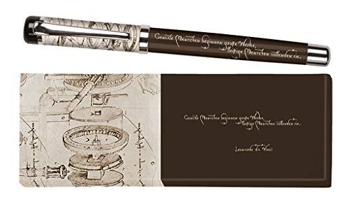 moses. libri_x Tintenroller Leonardo da Vinci | Tintenschreiber mit austauschbarer blauer Mine | In einer Geschenkschachtel