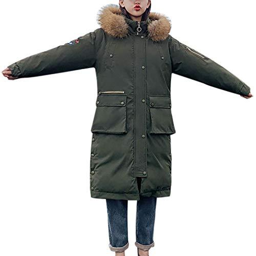 Damen Lange Kapuzen Steppjacke Winterparka,Luotuo Frauen Verdicken Warme Winterparka mit Plüsch Hut,Solide Lange Ärmel Casual Lose Hooded Übergangsjacke Softshellmantel