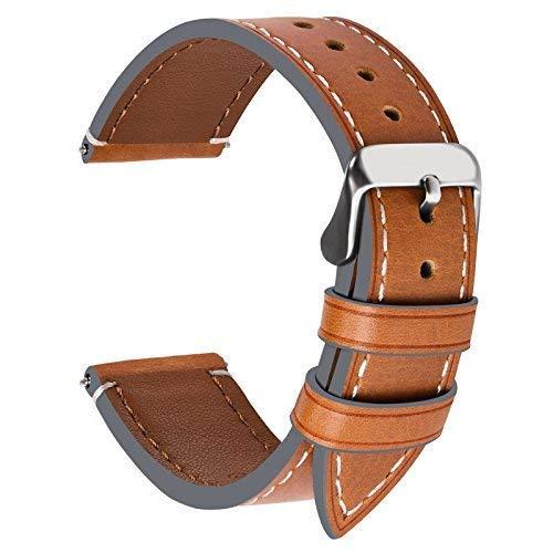 Fullmosa Wax Correa Reloj Piel,6 Colores para Correa Huawei Samsung, Correa/Banda/Band/Pulsera/Strap de Recambio/Reemplazo de 14mm 16mm 18mm 20mm 22mm 24mm, Marrón Claro + Hebilla de Plata,20mm