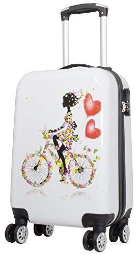 Trendyshop365 Hartschalen Handgepäck für Mädchen 53 Zentimeter 28 Liter 4 Räder Bunt mit Motiv Zahlenschloss