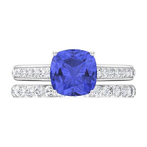Anillo solitario de corte cojín, juego de anillos de novia de oro, piedras preciosas de 2,88 ct, anillo de tanzanita D-VSSI Moissanite 8 mm, anillo de compromiso catedral, 18K Oro blanco, Size:EU 59