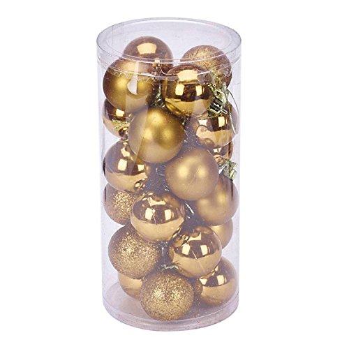 HMILYDYK Lot de 24 boules de Noël délicates en plastique transparent incassable pour décoration de fête de mariage - 4 cm - Doré