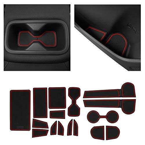 CupHolderHero fits Nissan Altima Accessories 2019-2021 Premium Custom Interior Non-Slip Anti Dust Cup Holder Inserts, Center Console Liner Mats, Door Pocket Liners 16-pc Set (Red Trim)