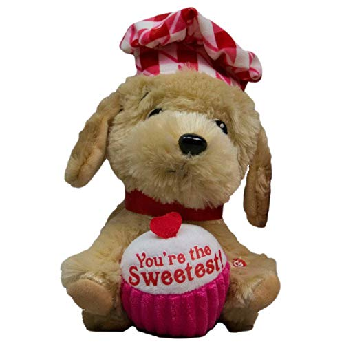 Red & Pink Singing and Dancing Animated Chef Puppy Dog Stuffed Animal - Sings Yummy Yummy Yummy (I Got Love in My Tummy) Do You Love Me