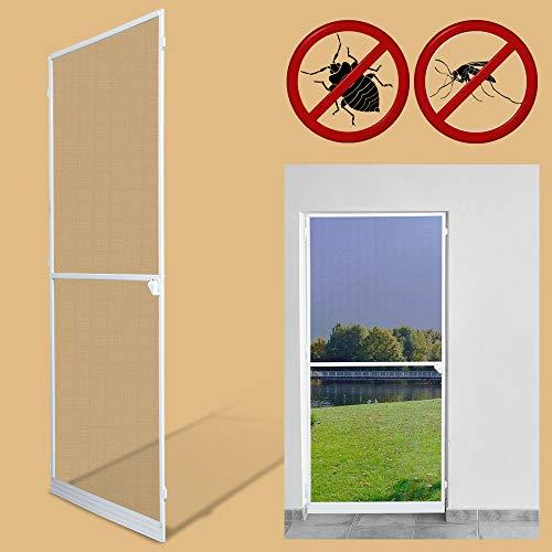 Preisvergleich Produktbild Vingo Fliegengitter 120X210Cm Tür Wasserdicht Fliegengitter Fenster Mückenschutz Gitter Alu-Rahmen Weiß Gaze Uv-Schutz Tür Wohnzimmer Balkone Kinderzimmer