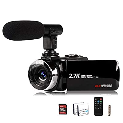Video Camera Camcorder with Microphone, Vmotal 2.7K HD 42.0 MP 18X Digital Zoom 1080P IR Night Vision Vlogging YouTube Webcam Recorder, 3.0 Inch Screen with 2 Batteries Inculde 32GB SD Card by SHENZHEN GAODI DIGITAL CO LTD