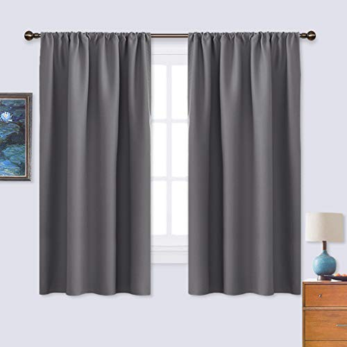 NICETOWN Blackout Curtains Panels for Bedroom - Thermal Insulated Rod Pocket Window Blackout Drapes/Draperies for Living Room (2 Panels, W42 x L63 inches, Grey)