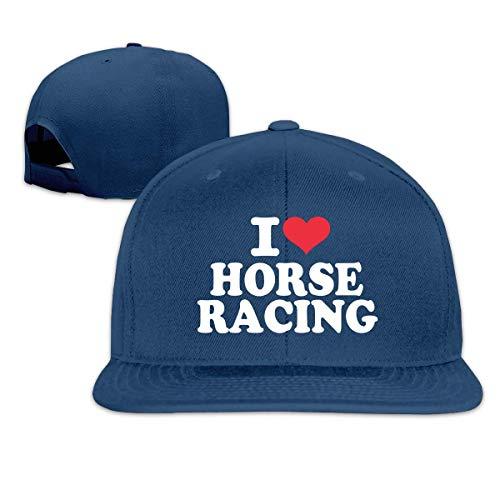 Lsjuee Gorras de Camionero Unisex, clsico I Love Horse Racing Hip Hop Flatbrim Ajustable