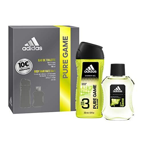 Coffret Adidas PURE GAME - 2 produits - Une Eau de Toilette, un Gel Douche et un Bon d'Achat