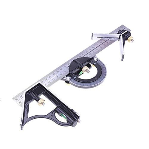 Aiglen 300 mm / 12' Medición de Nivel 3 en 1 Ajustable Regla Multi-Herramienta combinación de ángulos Buscador de Matemática Ángulo Cuadrado