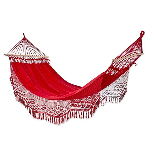 NOVICA Bright Red Cotton Fabric 1 Person Brazilian Hammock with Spreader Bars and Crochet Fringe, Tropical Red