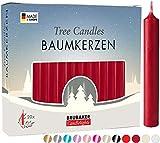 Brubaker 20er Pack Baumkerzen Wachs - Weihnachtskerzen Pyramidenkerzen Christbaumkerzen - Dunkelrot