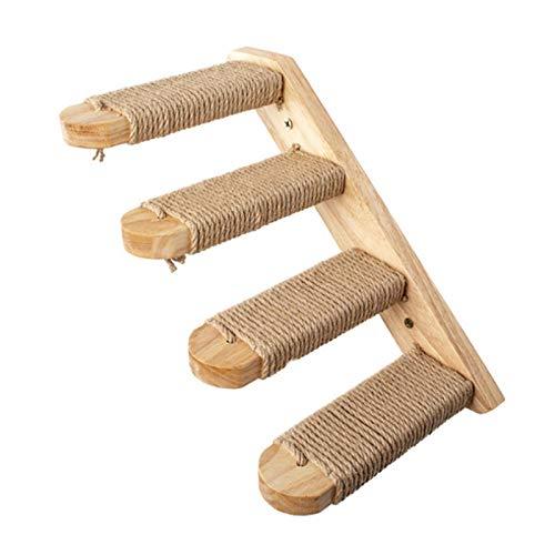 Katzentreppe, 40 cm Wandmontiertes Katzen-Kletterbrett aus Holz mit Sisalseil, Katzenkratzleiter, Regal für Haustiere, Möbel zum Klettern, Spielen, Faulenzen