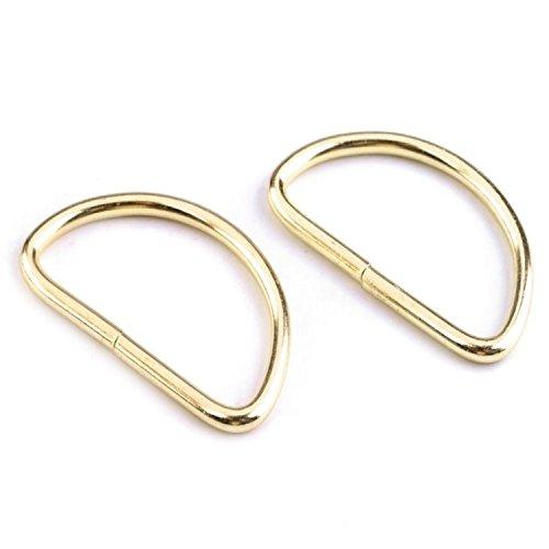 BIG-SAM - 90035 - D-Ringe/D-Halbringe - 5, 10, 25, 50 oder 100 Stück - Farbe: Silber (Nickel) (10 Stück, Goldfarben)