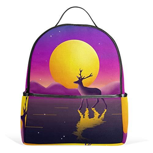 Mr.XZY Cute Reindeer Bright Moon Watercolor Painting Casual Daypacks Business Backpack Lovely Animal Romantic Multipurpose Daypacks Laptop Backpack for Men Women 2010506