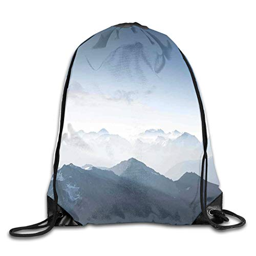 Drawstring Gym Bag Backpack,Foggy Scenic Morning In Rock Mountain Region In Northern Hiking Climbing Ice Photo,Rucksack for School Sports Travel Women Children Birthday Present