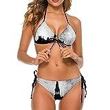 Bikini traje de baño para las mujeres vintage castillos dos piezas traje de baño señora traje de baño deportes acuáticos backless ropa de baño, Blanco-estilo1, L