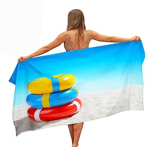 Toalla de Playa Grande Rectángulo, Chickwin Microfibra Absorbente Compacto Resistente Manta de Verano Toalla de Deportes para Piscina Playa Viaje (Playa de Arena,75x150cm)