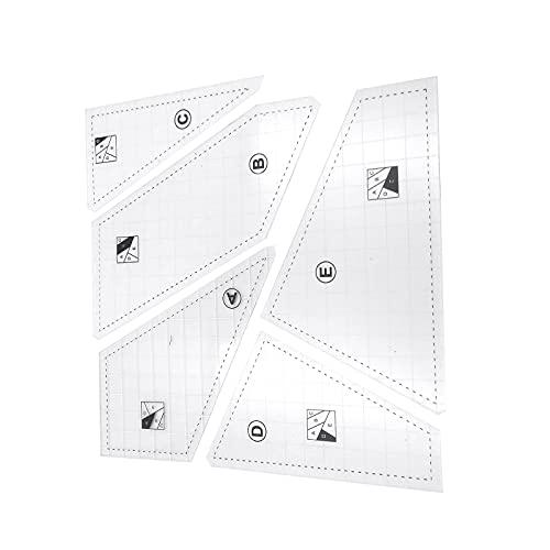 Takefuns Juego de regla de acolchado de acrílico, 5 unidades, regla de costura para manualidades, juego de regla de dibujo para coser