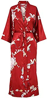 Applesauce - 868P - Plus Size/Regular Size Women's Satin Kimono Long Robe – Floral (US Size XS/S, M/L, 1X/2X, 3X/4X) (3X/4X (22W-28W), Crane & Peony - Red Pomegranate)
