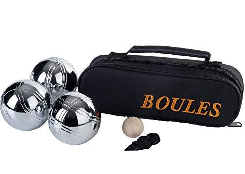 Engelhart - 010121 - Petanque Boules-Kugeln 3 Stuck - Boules Spieleklassiker 720 G, Durchmesser 74 Mm, Stofftasche