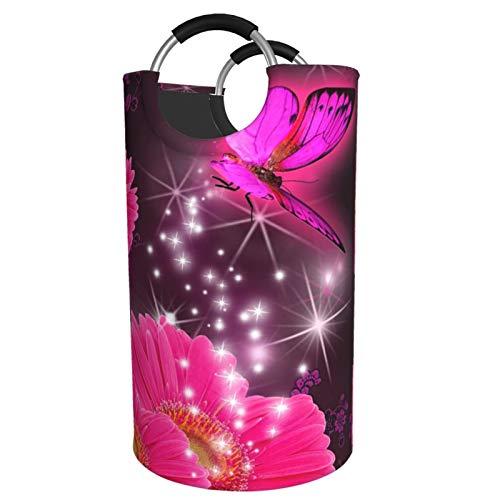 Sunmuchen Pink flower purple butterfly Laundry Basket,Waterproof Large Laundry Hamper Storage Bin Organizer Basket for Clothes,Toys,Bedroom,Bathroom,with Aluminium Handles