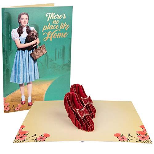 """Pop-Up-Karte """"Zauberer von Oz"""" – There 's No Place Like Home – Deluxe handgefertigte Pop-Up-Karte mit Rubin-Hausschuhen – alle Anlässe – innen blanko, 12,7 x 17,8 cm"""
