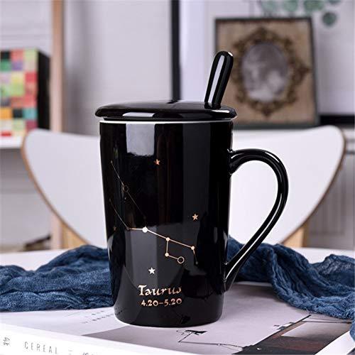 Erjialiu 12 Constellations Créatif Cadeau Tasses en Céramique avec Couvercle De Cuillère Tasses À Café Au Lait 400Ml Eau Drinkware Cadeau d'anniversaire,Taurus