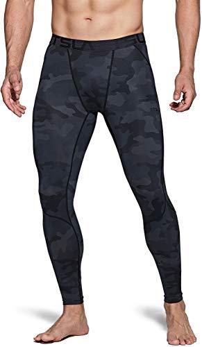 TSLA DRST Dri Fit Kompressionsunterwäsche Aktive Workout Sport-Leggings für Herren, Unique Mup39 1pack - Woodland Black, XL