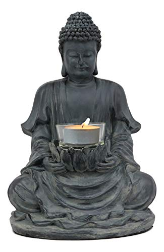 Ebros Eastern Enlightenment Meditating Buddha Shakyamuni On Lotus Throne Tea Light Votive Candle Holder Statue 8.75'Tall Tibetan Buddhism Amitabha Figurine Candleholder Zen Home Aromatherapy Accessory