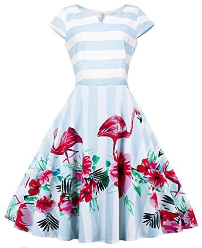Coucoland Rockabilly-jurk voor dames, stijl uit de jaren '50 rockabilly, roze, flamingo-patroon, avondjurk, mouwloos, cocktailjurk