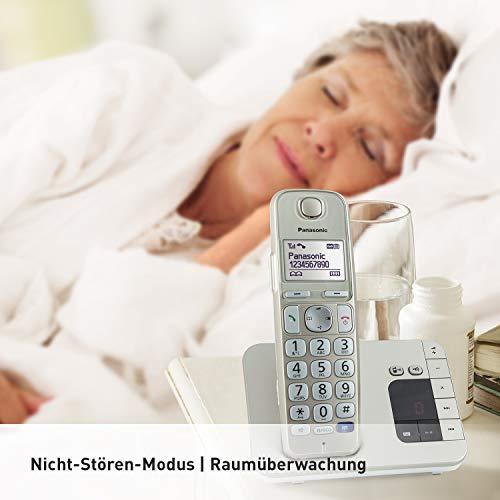 Panasonic KX-TGE222GN DECT Seniorentelefon mit Anrufbeantworter (schnurlos, hörgerätekompatibel, Großtastentelefon DUO, strahlungsarm) champagner