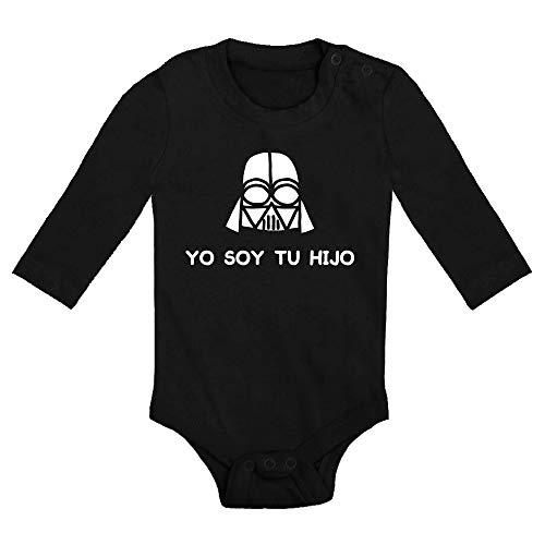 ClickInk Body bebé Yo soy tu hijo. Regalo bebé. Regalos para bebés. Regalo divertido. Regalo original. Body bebé friki. Manga larga. (Negro, 3 meses)