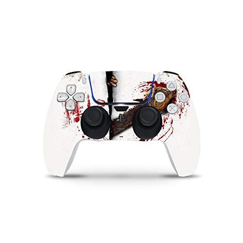PS5 Controller Skin De 46 North Design, Misma Calidad Que Las Calcomanías De Coche, Motosierra Blood Calcomanía Blanco Horror, Alta Calidad, Duradera, Compatible Con PS5 W/Disk, Fabricado En C