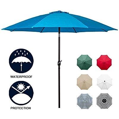 Sunnyglade 9' Patio Umbrella Outdoor Table Umbrella with 8 Sturdy Ribs (Blue)