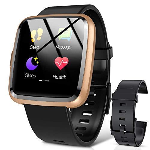 Hommie Smartwatch, S2 Reloj Inteligente con Pantalla Táctil Completa, Pulsera Actividad Inteligente ImpermeableIP67 con 8 Modos Deportes, Pulsómetro, Monitor de Caloría y Sueño, 2 Correas, Oro