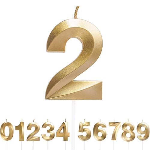 Xuefoo Number Candles 2, Birthday Cake Candles, Gold Glitter Birthday Number Candle, Suitable For Kids And Adults, Can Decorate Graduation Wedding Anniversary Birthday Parties
