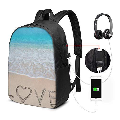 Lawenp Zaino per Laptop, Zaino da Scuola Universitaria da 17 Pollici con Porta di Ricarica USB, Zainetto Casual da Viaggio (Conchiglia Tropicale oceanica costiera)