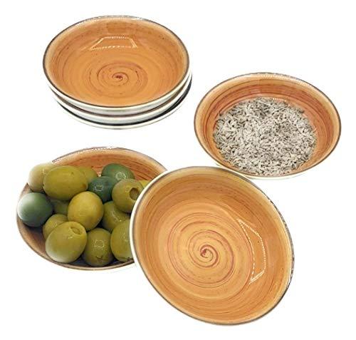 Blanca's Feel Cuencos Aperitivo Salsas 6 piezas Cerámica Porcelana color marrón canela 9.9 x 5.5 x 2.5 cm /50 ml/ apto lavavajillas y apto microondas.