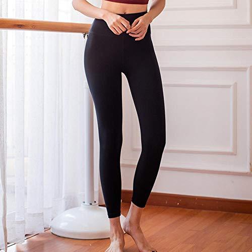 Elástico Fitness Yoga Pants,Mujeres Deportes sin Costuras Push Up Pantalones de Yoga Cintura Alta Vendaje Trasero Pantalones Deportivos-Black_S