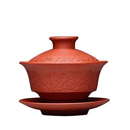Z.L.FFLZ Teiera Accessori for la teiera a Mano Autentico Yixing Viola Argilla Tea Cup Longevità Tea Cup Zuppiera Ciotola con Dio Kung Fu tè tè (Color : Rosso)
