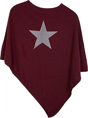 styleBREAKER weicher Feinstrick Poncho mit aufgedrucktem Glitzer-Stern, Rundhals, Damen 08010028, Farbe:Bordeaux-Rot-Grau