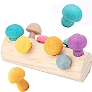 Montessori Toys for 1 2 3 Year Old Boys and Girls,Mushroom Harvest Wooden Educational Toy,Shape Sorting Matching Puzzle Toy,Learning Gifts for Toddlers(8 Colors)