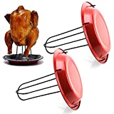 behone 2 Piezas Soporte para gallinas, Soporte Vertical para Asar Pollo, Posavasos de Acero Inoxidable para Pollo, para Barbacoa, Soporte para Asar, Soporte para Pollo con Bandeja de Goteo