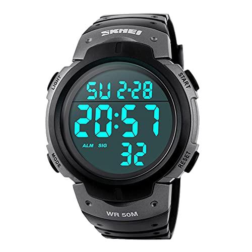 Reloj Digital Hombre,Welltop Reloj Deportivo Hombre Reloj cronometro con Temporizador de Alarma, dial Grande,Impermeable al Aire Libre Reloj Deportivo Hombre con retroiluminación LED (Gris)