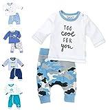 Baby Sweets 2er Baby-Set mit Hose & Shirt für Jungen/Baby-Erstausstattung in Blau,Weiß & Grau in Camouflage-Optik/Baby-Kleidung aus Bio-Baumwolle/Baby-Outfit in Größe: Newborn (56)