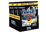Finish, Quantum Ultimate, 180 pastillas para lavavajillas, 3 paquetes de 60 pastillas, limón