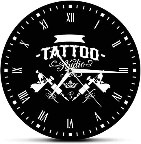 Reloj de pared grande Reloj de cocina Estudio de tatuajes 3D Máquina de tatuaje Reloj de pared moderno Salón de tatuajes Decoración de tienda Reloj redondo negro Reloj Hipster Hombres Tatuador Regalo