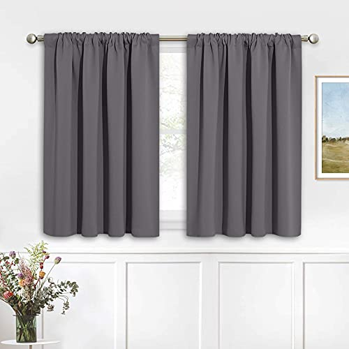 RYB HOME Short Curtains Gray Half Window Curtains for Bedroom, Privacy Curtain Tiers for Windows, Energy Saving Curtain Tiers for Bathroom Shades, Wide 42 x Long 36 inches per Panel, Grey, Set of 2